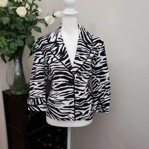 Chico's Zebra Print Cropped Casual Trendy Jacket